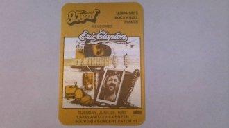 1982 6/29 Eric Clapton Mint Radio Promo Pass 95 Fm Lakeland,Fl