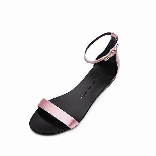 Talon DHG Simples Mot Chaussures Chaussures Rond Mot D'Été 37 Plat Bouton Sandales Une wzrxzIq6