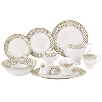 Lorren Home Trends 57-Piece Porcelain Dinnerware Set with Silver Accent Border, Service for 8