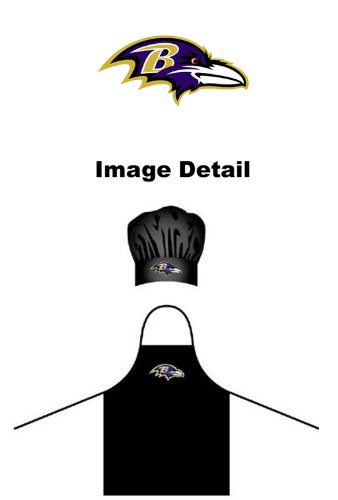 (NFL Baltimore Ravens Chef Hat and Apron Set, Black, One)