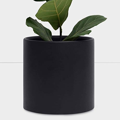 """PEACH & PEBBLE 12"""" Ceramic Planter (12"""", 10"""", 8"""" or 7"""") - Large White Plant Pot, Hand Glazed Indoor Flower Pot for All Indoor Plants (White, Black, Melon or Gold) - Black, 12 inch"""