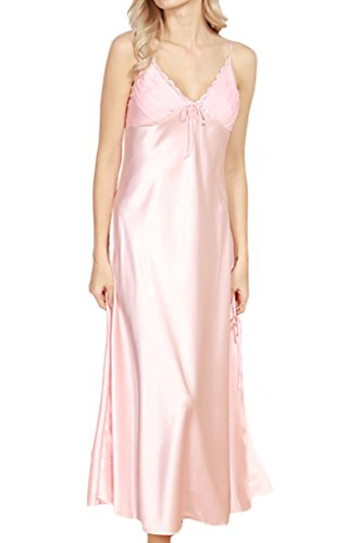 Asherbaby Women's Sexy Satin Long Nightgown Lace Slip Lingerie Chemise Robes Light Pink US 8-10 = Tag XL (Nightgown Silk Pink)