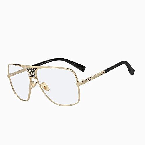sobredimensionado sol gafas de de diseñador gafas hombre sol de del Sol bastidor TIANLIANG04 w Vintage Gafas de de marrón marca de estilo nuevo Gold W Oculos UV400 más verano lens clear oro marrón zvB0UZw