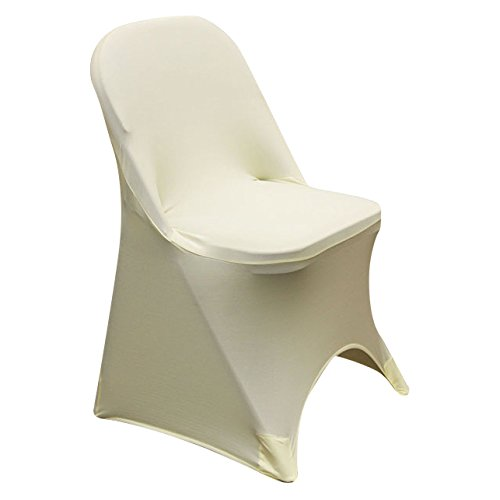 SPRINGROSE 100 Ecoluxe Ivory Spandex Stretch Folding Chair Covers | Sleek, Resilient Polyester & Elastic Spandex | for Wedding, Bridal Showers, Anniversary Party, Receptions, Celebrations, More by SPRINGROSE (Image #7)