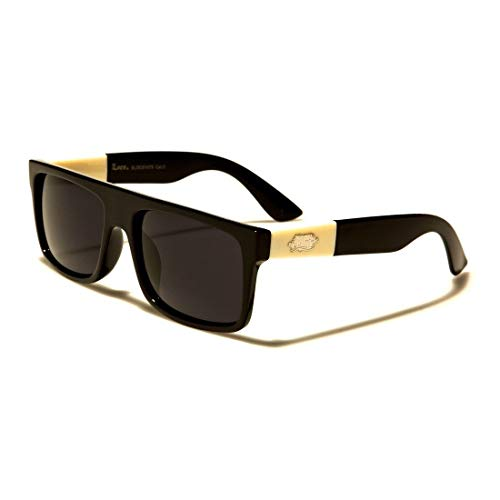 Locs Flat Top Squared Black Frame Ivory Arms Men's Designer Sunglasses (Dark Flattop)