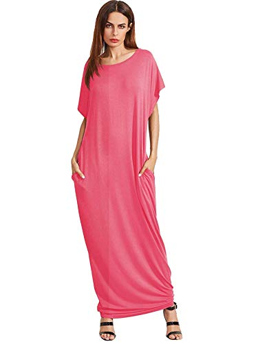 Verdusa Women's Short Sleeve Casual Loose Long Maxi Dress with Pockets Watermelon Red XXXL