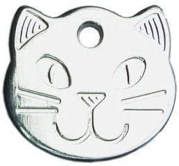 ENGRAVED FREE SILVER Durable Cat Head Pet ID Tag Disc WITH LONG LASTING DEEP HAND ENGRAVING Personalised Solid Chrome