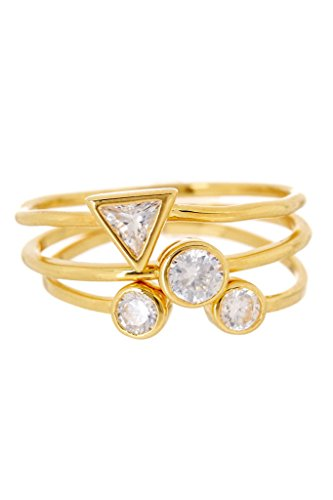 Sterling Forever 3 Stackable Rings, Gold Rings, CZ Stackable Rings, Cubic Zirconia, Set of Three Stacking Rings, Forever Ring, 3 Piece Bezel CZ Stackable Ring Set Size : 9