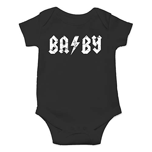 Baby Rock and Roll - ABCD Rocker Parody - Cute Infant One-Piece Baby Bodysuit (12 Months, Black)