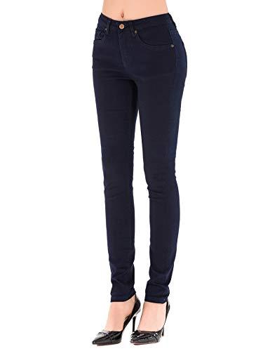 - HONTOUTE Women's Basic Solid 5-Pocket Jeans High Waist Stretch Slim Jeans Pants (29, Dark Blue)