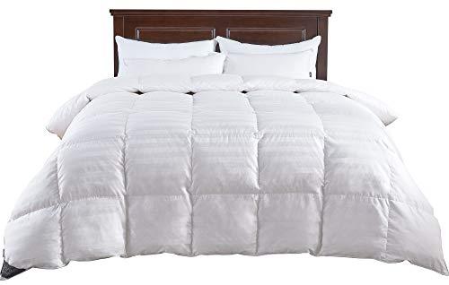 puredown All Season Down Comforter Stripe White 100% Cotton Shell 500...