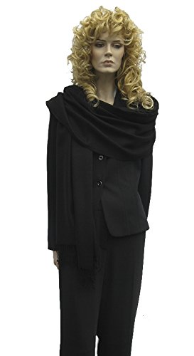 Cashmere Pashmina Group: Solid Pashmina Shawl, Scarf, Wrap & Stole(Regular size) Midnight Black