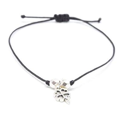 5885aa6f0d3e3 Bracelet Porte-Bonheur avec trèfle en argent sur bracelet textile noir -  Fabriqué à la