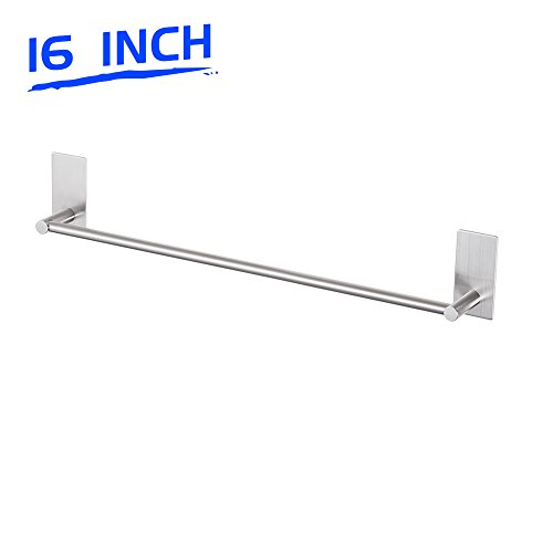 Self Adhesive Bathroom Towel Rod, Brushed Nickel 16 Inch Towel Bar Stainless Steel Wall Hand Towel Holder for Kitchen and Washroom (Hang Ways Towels In To Bathroom)