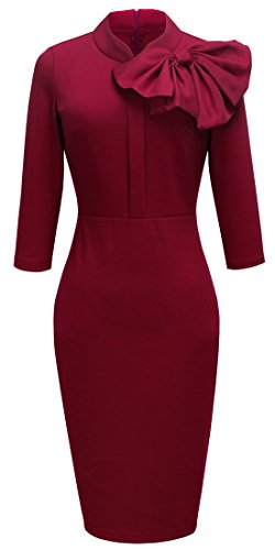 Homeyee Women's Vintage Bowknot 3/4 Sleeve Party Dress B244 (L, Red) US 8