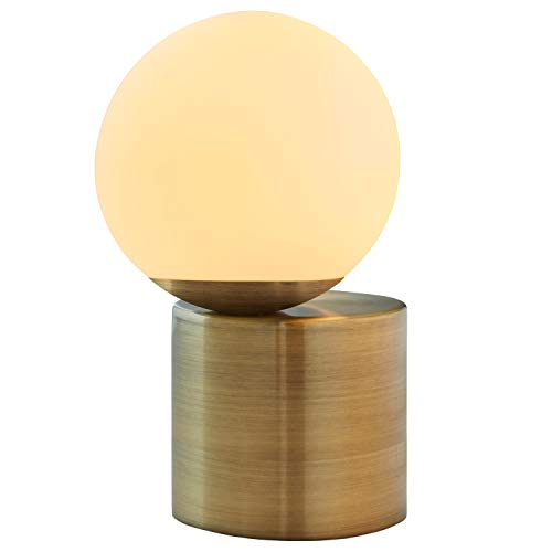 Rivet Glass Ball Metal Table Lamp with Bulb, 10H, Brass Finish, White
