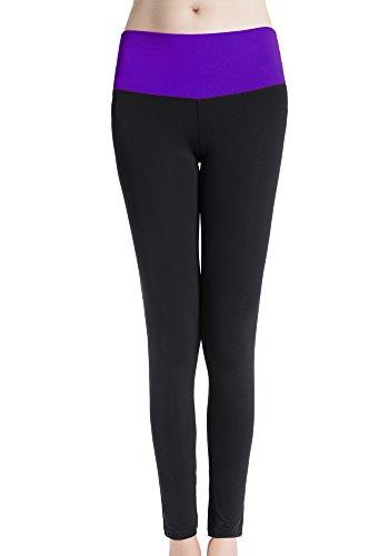 Bmeigo Mujer Fitness Yoga Training Ninth Pantalón Leggings secado rápido Purple