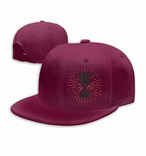 Baseball Cap Adjustable Athletic Custom Trendy Hat for Men and Women Vintage Label Hand Drawn Sport Trophy Winners Prize Wine red