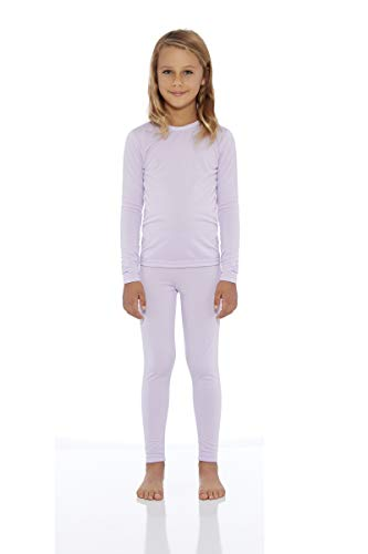 (Rocky Girl's Smooth Knit Thermal Underwear 2PC Set Long John Top and Bottom Pajamas (Light Purple, L))