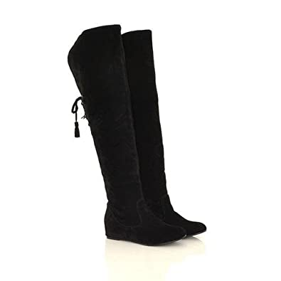 Pumper Joes Womens Boots Faux Suede Over The Knee - Black, 4.5