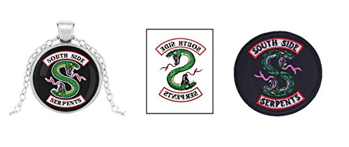 - 3 Piece Riverdale South Side Serpents Jughead Jones Collectible TV Show Set, Necklace Iron On Patch Temporary Tattoo