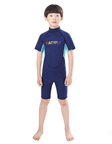 NATYFLY Neoprene Wetsuits for Kids Boys Girls Back Zipper One Piece Swimsuit UV Protection Blue-2mm-Short Sleeve, New XL-For Height ()