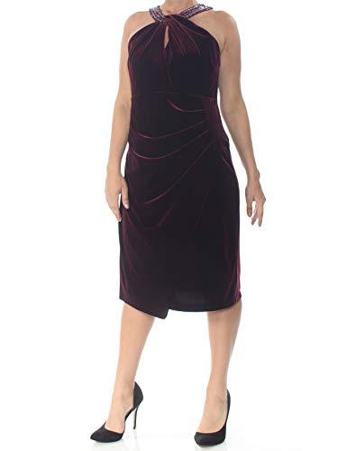 - Alex Evenings Women's Short Velvet Shift Dress with Beaded Halter Neck, Wine, 14