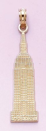 14k Gold Travel Necklace Charm Pendant, Empire State Building Monument Textured by Million Charms