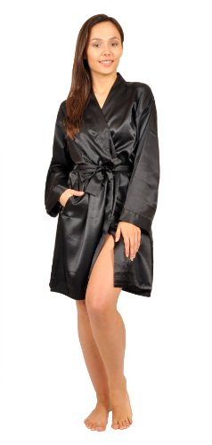 Up2date Fashion Satin Robe, Five Color Choices, Sizes (S, M, L, XL, 2X), Style#Gwn11 (Medium, Black)