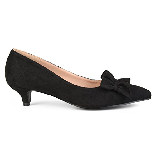 Brinley Co. Womens Faux Suede Ruffle Kitten Heels Black, 8.5 Regular US