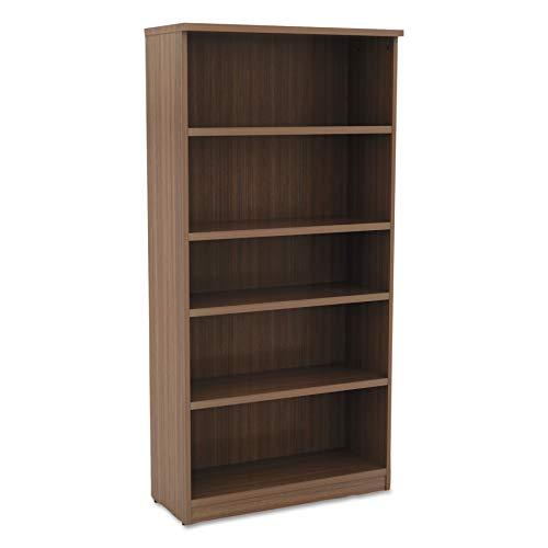 Alera VA636632WA Valencia Series Bookcase, Five-Shelf, 31 3/4w x 14d x 65h, Modern Walnut