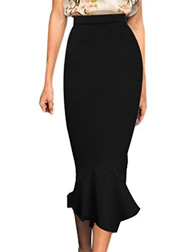 VFSHOW Womens Black Vintage High Waist Work Business Mermaid Midi Pencil Skirt 2723 BLK XXL