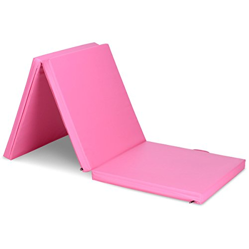 Tri-Fold Gymnastics Exercise Mat 6'x2′ Folding Fitness Carrying Handles Pink with Ebook