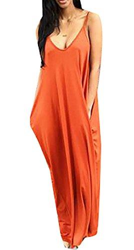 Beach Deep Women Dress Orange1 Sling Pockets Solid Maxi Neck Coolred V Zaxwqw8