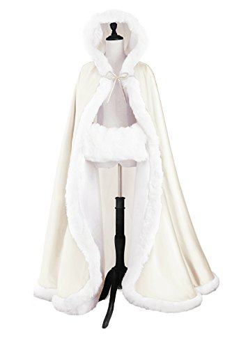Trim Cape Hooded (Wedding Cape Hooded Cloak for Bride Winter Reversible with Fur Trim Free Hand Muff Full Length 50'')
