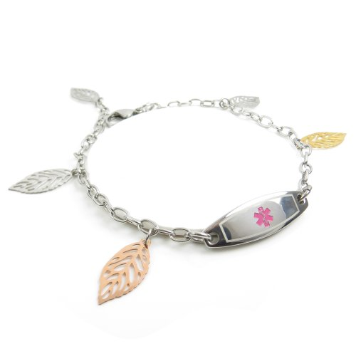MyIDDr - Pre-Engraved & Customized Women's No Nsaids Medical Bracelet, Steel Leaves, Wallet Card - Glasses With Card Medical