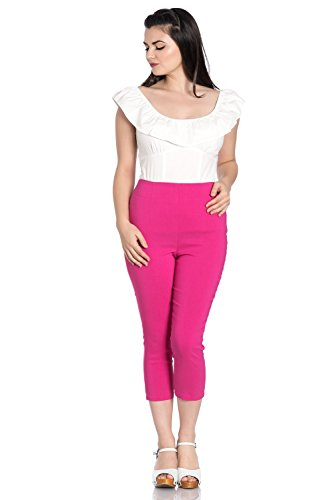 (Hell Bunny Tina 50s Vintage Retro Style Capri Trousers 3/4 Length Pedal Pushers - Pink (XS))