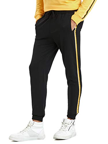 (LC Waikiki Men's Black Casual Stretch Stripe Jogger Pants with Side Pockets S Black)