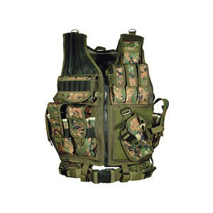 Tactical Vest Woodland Digital Camo Army Military SWAT Design Law Enforcement (Digital Woodland Camo Design)