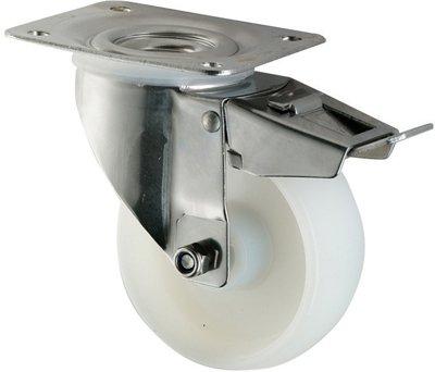 100mm Swivel Braked Castor with Nylon Wheel Coldene Castors Ltd