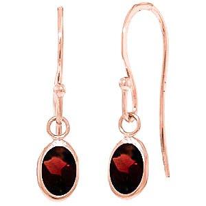 QP bijoutier grenat naturels-Boucles d'oreilles en or Rose 9 carats, 1.0ct 3878R-Ovale