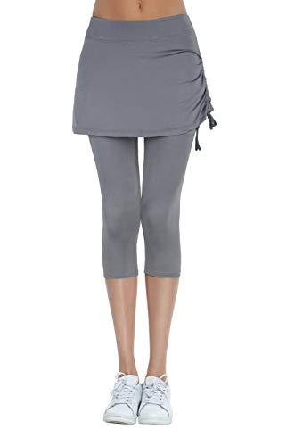 Women's Running Cropped Capri Pants Skirted Sport Leggings Sun Protection Grey - City Trousers Suit