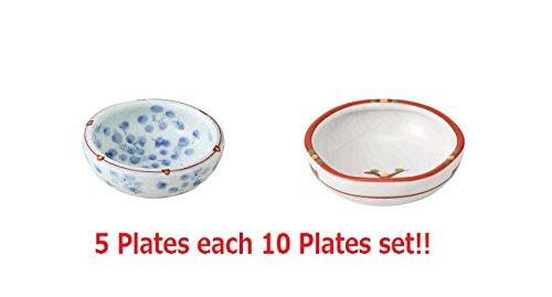 Pottery Sauce ([10 Plates Set!!] ]Saikai Pottery Traditional Japanese Nishiki Patterns Porcelain Small Plate Soy Sauce Plate Red & Blue 96882 & 96868)
