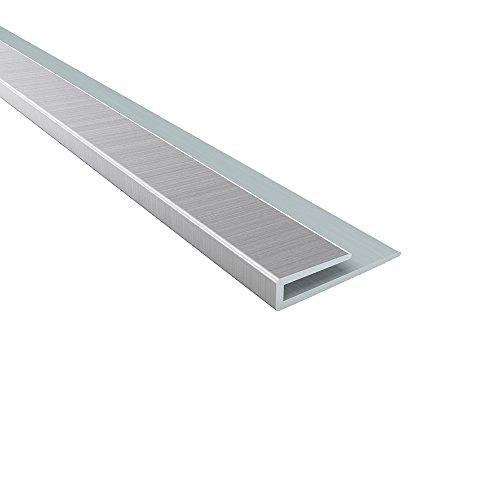 Fasade - 4 ft Decorative Vinyl Edge J-Trim Brushed Aluminum ()