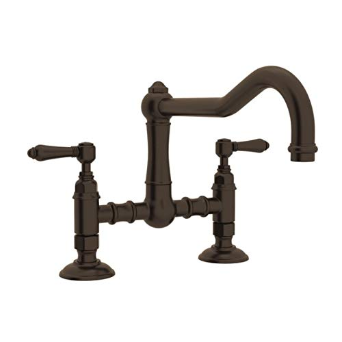 (Rohl A1459LMTCB-2 Country Kitchen Bridge Faucet with Metal Lever Handles, Tuscan Brass )