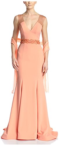 Terani Couture Women's Gown with Embellished Waist, Peach Blush, 10