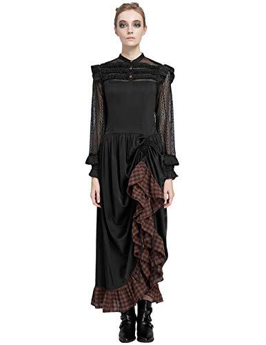 Womens Long Maxi Dress Vintage Renaissance Costume Adjustable Ruffle L -
