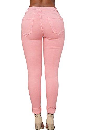 Mesdames rose découpé Skinny Jeans Casual Wear Club Porter Taille M 10–12
