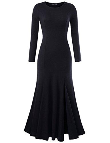 NEARKIN (NKNKWLD18 Womens Round Neck Trendy Slit Design Mermaid Maxi Dress Black US XL(Tag Size 2XL)