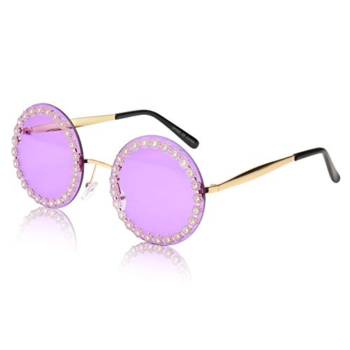 Round Sunglasses for Women Big Designer Baroque Swirl Temple Uv400 Protection (Flower purple)